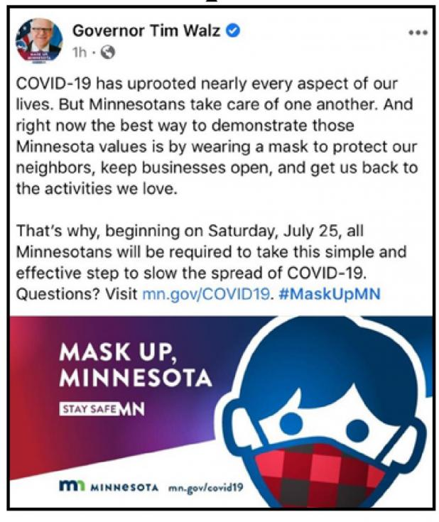 Minnesota Executive Order 20-81 Requires Face Covering beginning July 25